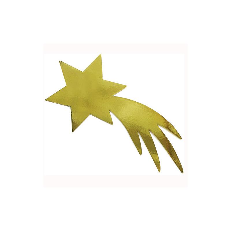 Étoile filante en carton dorée 100 cm