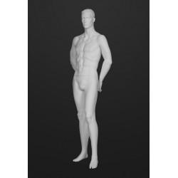 Mannequin Illusion Homme avec tête cheveux sculptés, blanc