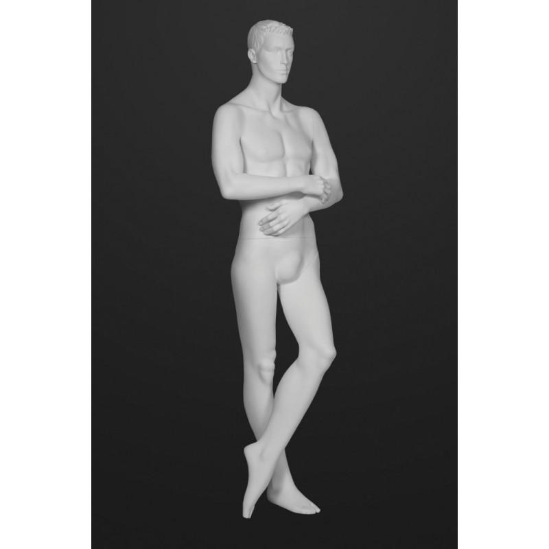 Mannequin Illusion Homme avec tête cheveux sculptés jambes croisés