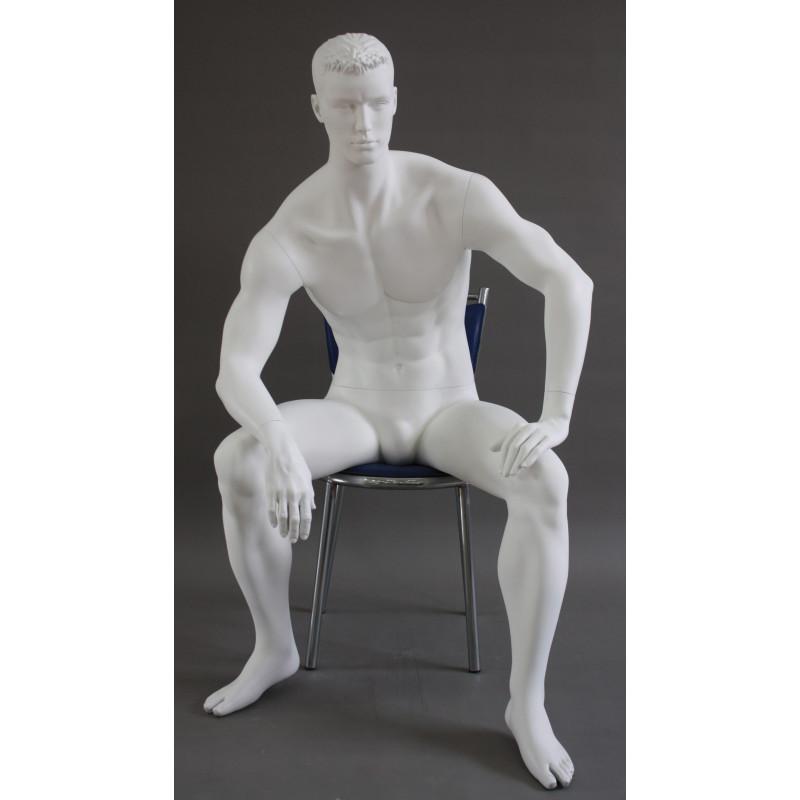 Mannequin Homme assis - tête cheveux sculptés