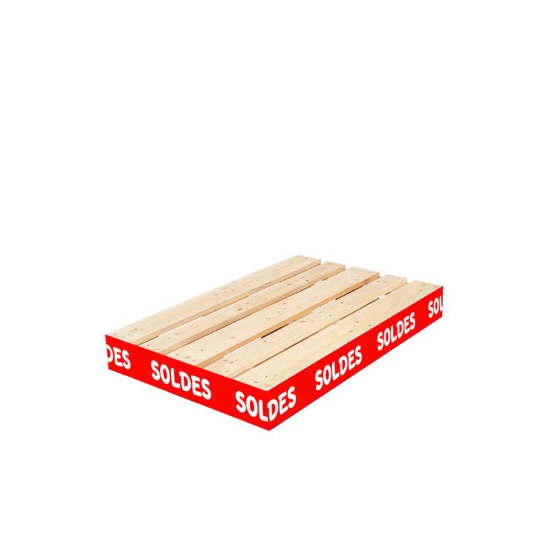 """Cache palette rouge 15 cm avec texte """"SOLDES"""""""