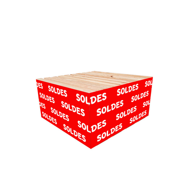"""Cache palette 60 cm """"SOLDES"""" fond rouge"""