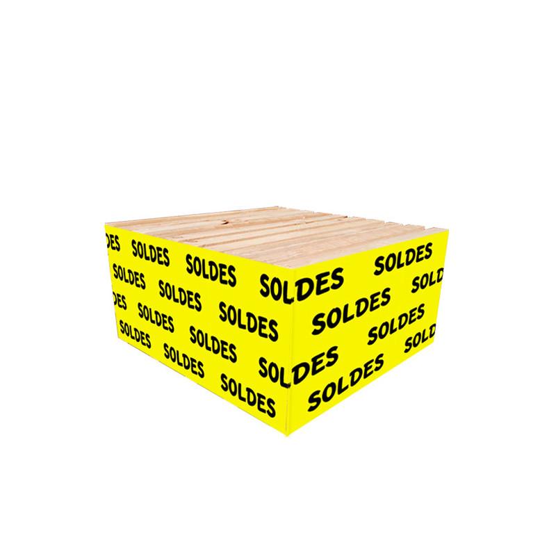"""Cache palette 60 cm """"SOLDES"""" fond jaune"""
