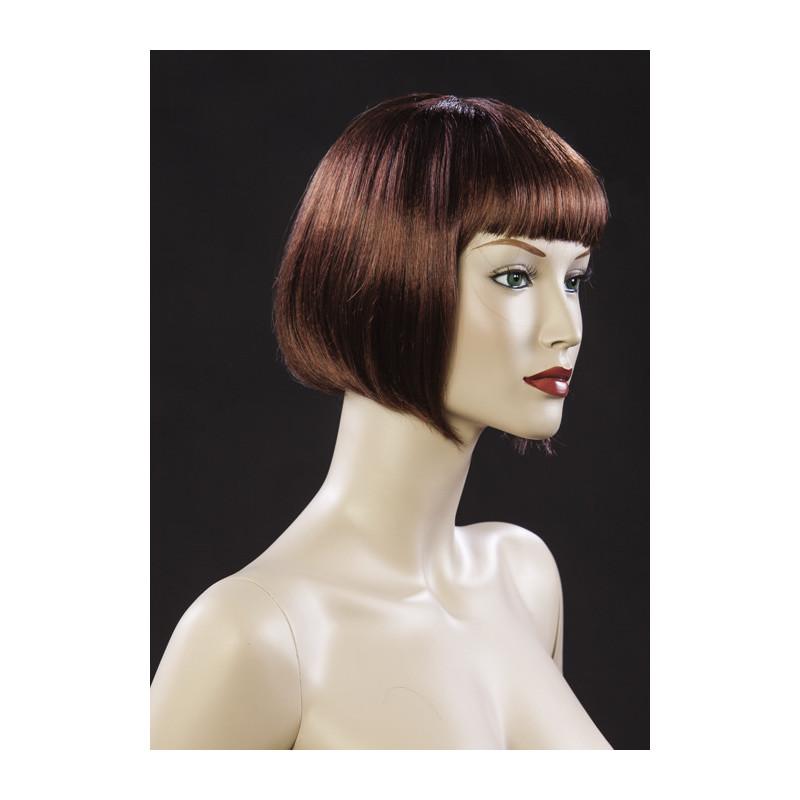 Perruque femme cheveux mi longs rousse