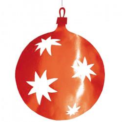 Boule 40 cm évidée aux motifs d'étoile -rouge