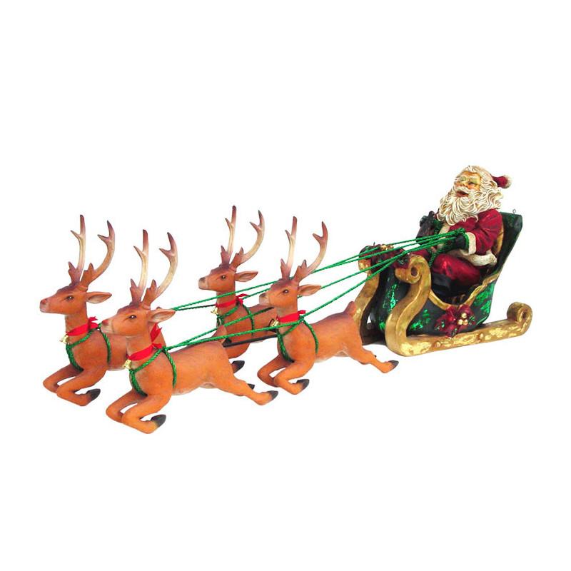 Père Noël en résine dans son traîneau tiré par 4 rennes. Décoration de 193 cm de long !