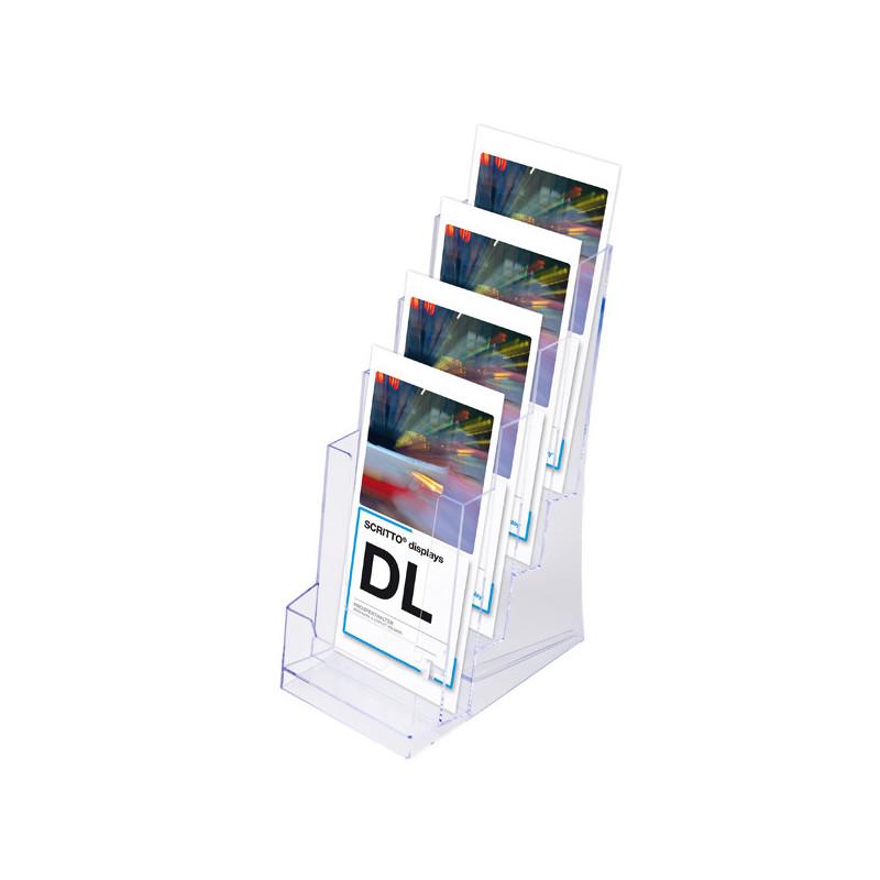Porte brochure 1/3 de A4 de comptoir : 4 niveaux
