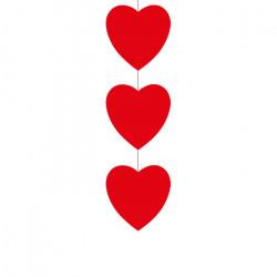 3 cœurs rouges de 16 cm sur une descente de 80 cm
