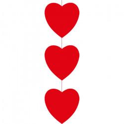 Mobile de 150 cm à suspendre de 3 cœurs rouges