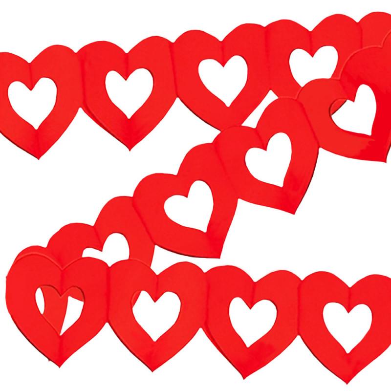 Guirlande de 4 mètres en papier ignifugé M1 composée de cœurs rouges évidés de 30 cm