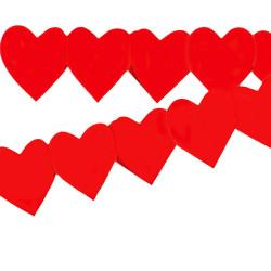 Guirlande de 3 mètres composée de cœurs en papier ignifugé M1 de 16 cm