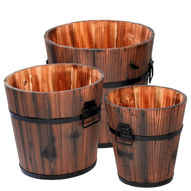 Set de 3 baquets en bois.