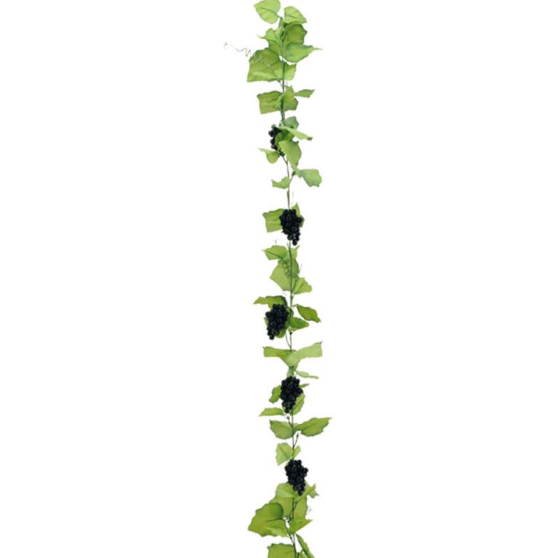 Guirlande de vigne avec grappes de raisins noirs 180 cm