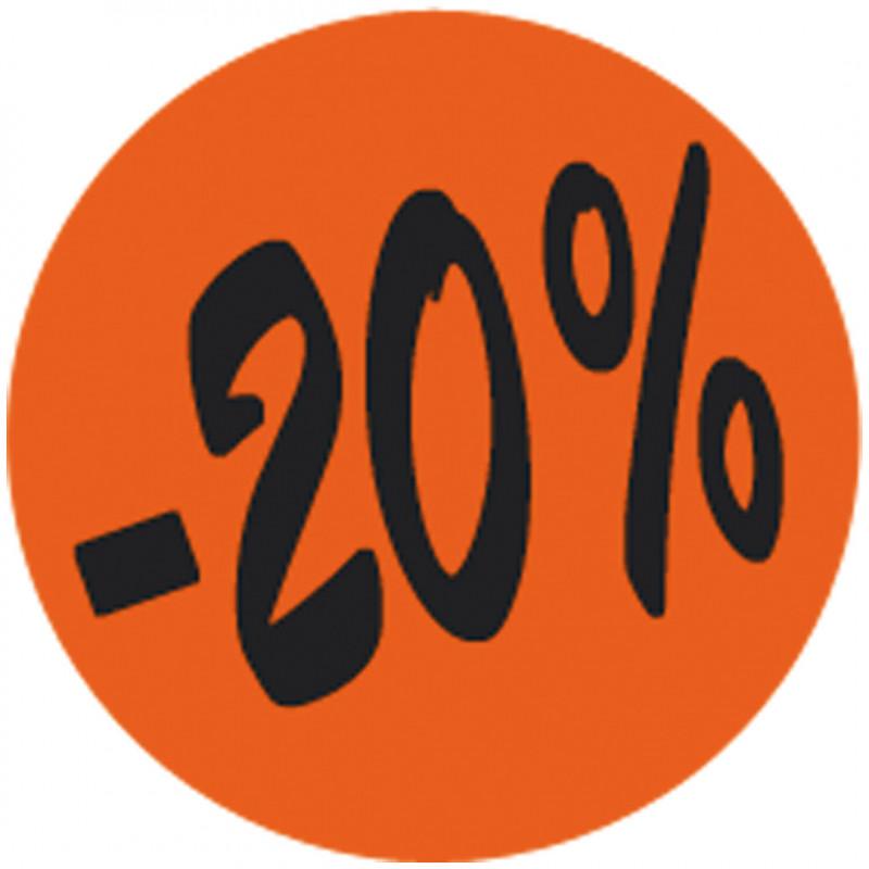 Étiquette adhésive fluo rouge -20%