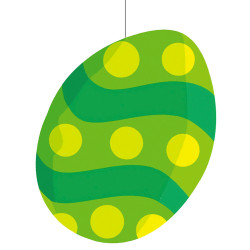 Œuf de Pâques décoré en carton plat de 40 cm imprimé recto/verso