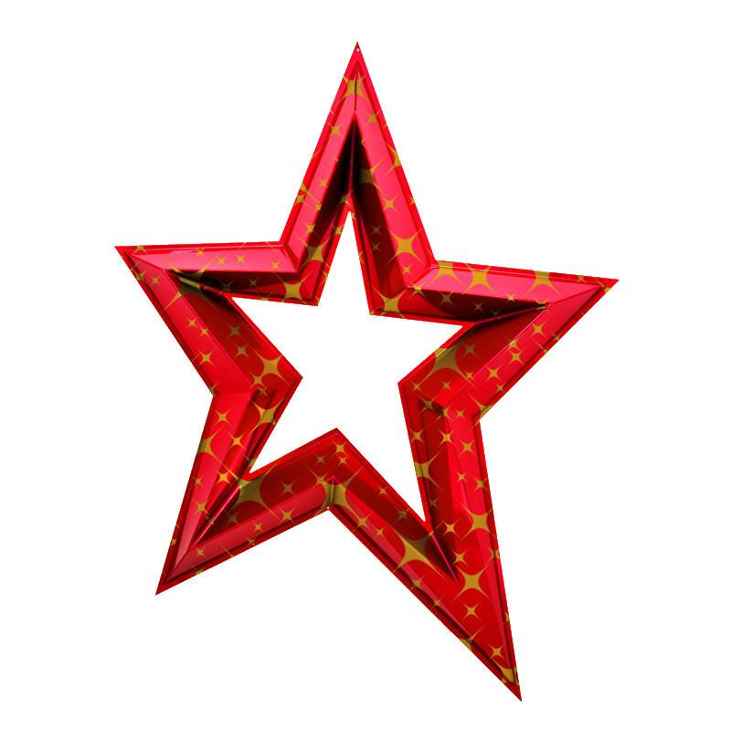 Étoile en 3D de 120 cm - Rouge et or