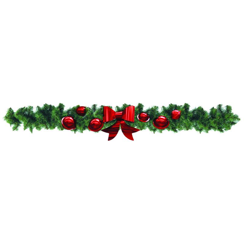 Guirlande de sapin vert décorée 270 cm