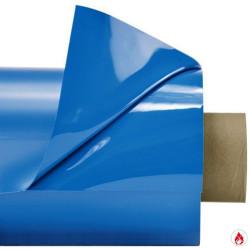 Laquefolie Bleue azur ignifugée  en largeur de 130 cm