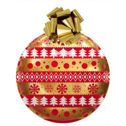 Boule de Noël en PVC thermoformé 70cm Or et rouge