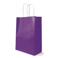 Sac papier poignées ficelle violet 23x12x30 cm en kraft