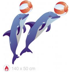 Set de 2 dauphins jongleur de 140 cm en PVC plat ignifugé